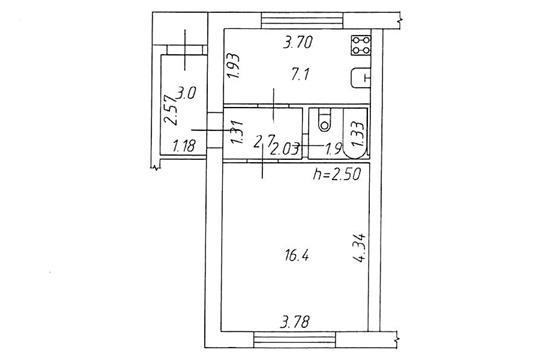 1-комн квартира, 31.1 м2, 1 этаж