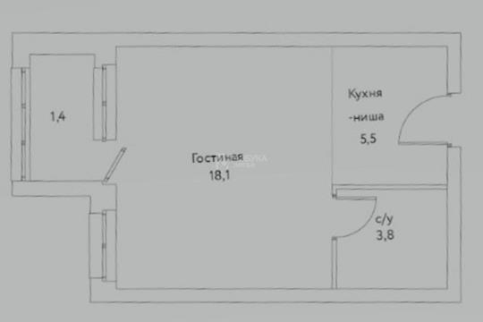 1-комн квартира, 28.8 м2, 8 этаж