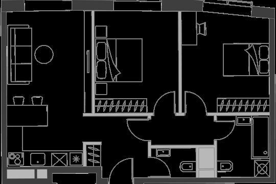2-комн квартира, 60.5 м2, 19 этаж