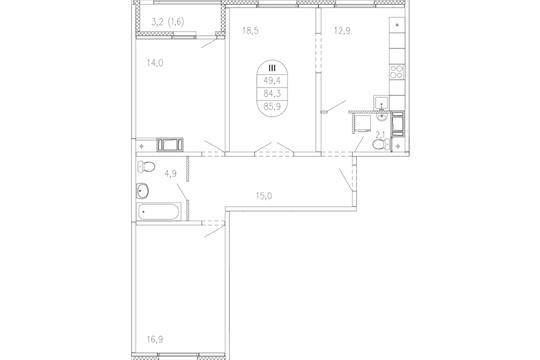 3-комн квартира, 85.7 м2, 8 этаж