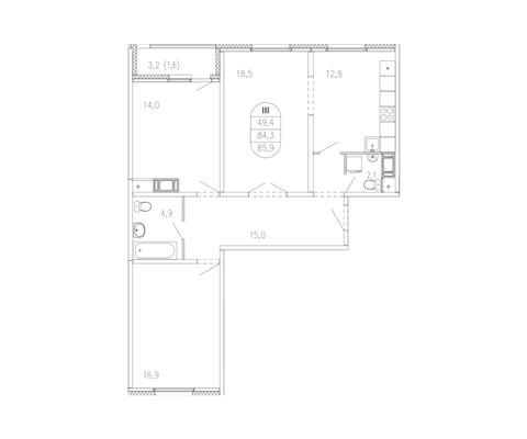 3-комн квартира, 85.7 м2, 8 этаж - фото 1