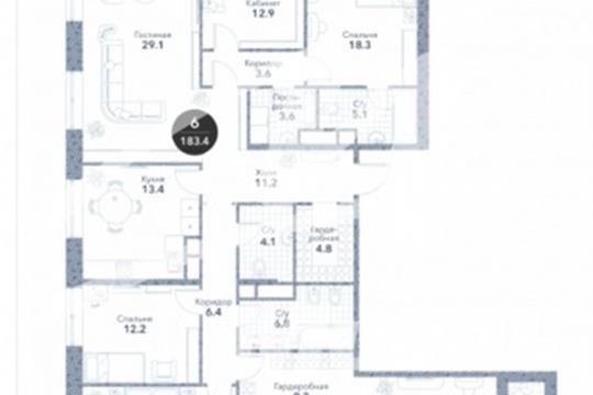 Многокомнатная квартира, 181.4 м2, 11 этаж