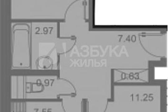 2-комн квартира, 43.4 м2, 1 этаж