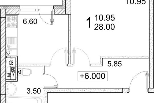 1-комн квартира, 28 м2, 3 этаж
