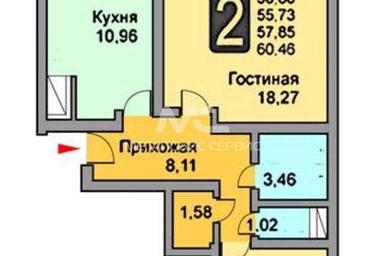 2-комн квартира, 57 м2, 13 этаж
