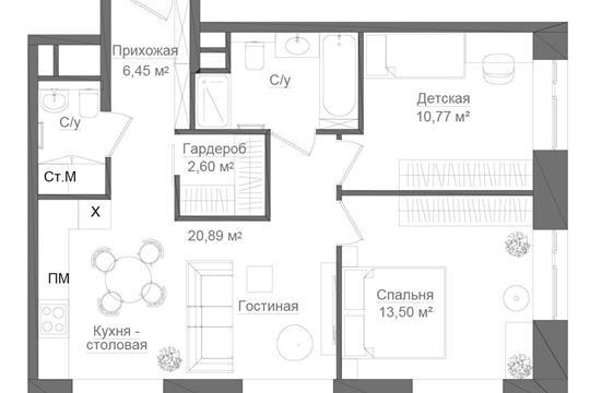 2-комн квартира, 64.38 м2, 2 этаж