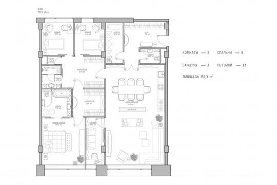 5-комн квартира, 159.3 м2, 3 этаж