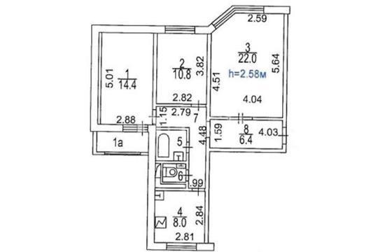 3-комн квартира, 72.4 м2, 11 этаж