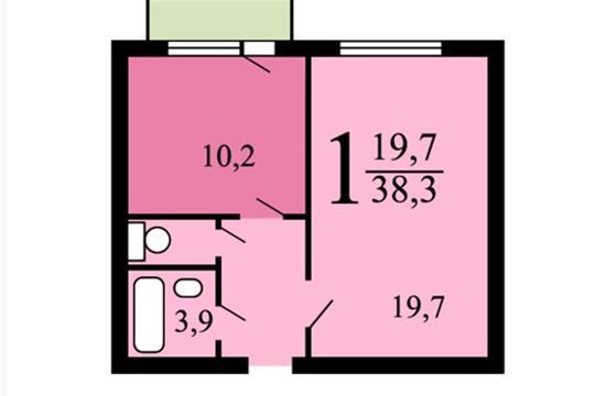 1-комн квартира, 38.3 м2, 16 этаж