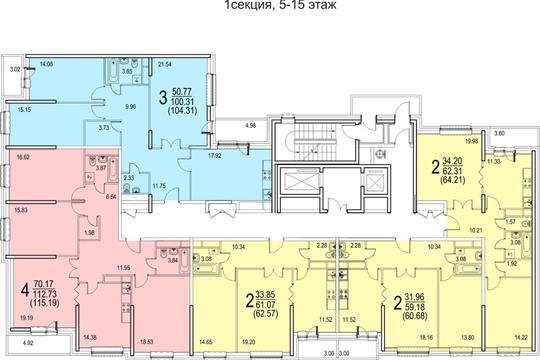 2-комн квартира, 60.68 м2, 11 этаж