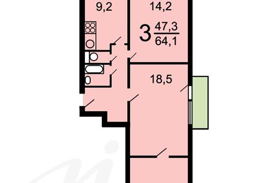 3-комн квартира, 64.6 м2, 10 этаж