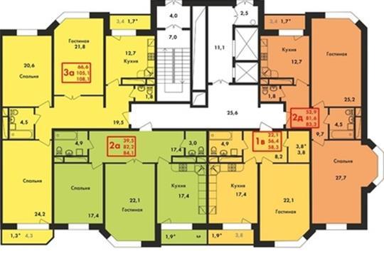 2-комн квартира, 83 м2, 4 этаж