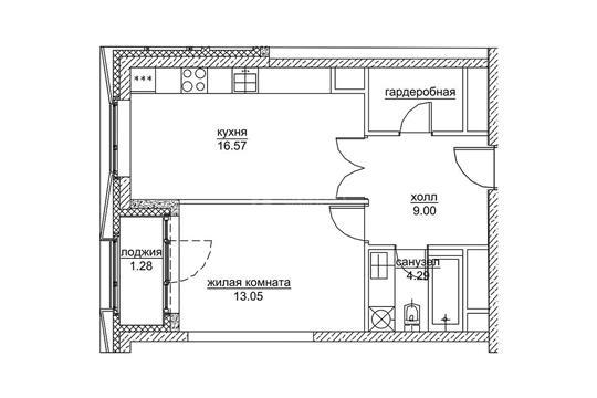 1-комн квартира, 46.8 м2, 20 этаж