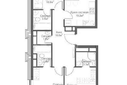 3-комн квартира, 85.6 м2, 17 этаж