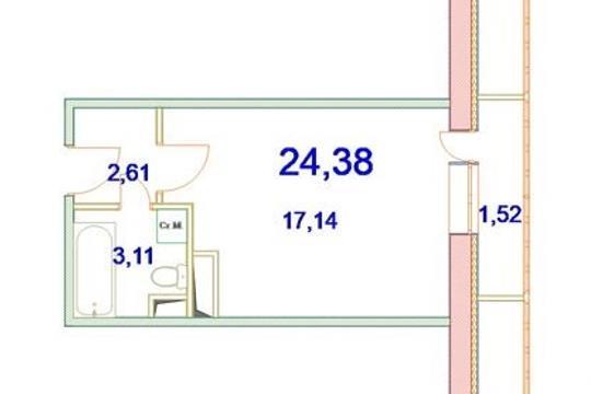 1-комн квартира, 24.38 м2, 3 этаж