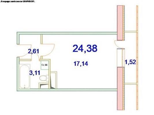 1-комн квартира, 24.38 м<sup>2</sup>, 3 этаж_1