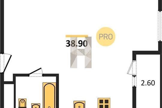 1-комн квартира, 38.9 м2, 16 этаж
