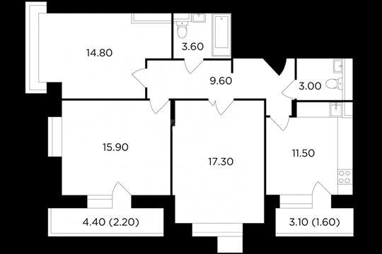3-комн квартира, 79.5 м2, 15 этаж