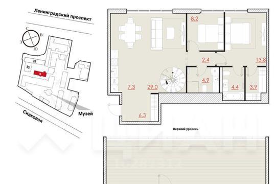 2-комн квартира, 132.5 м2, 6 этаж