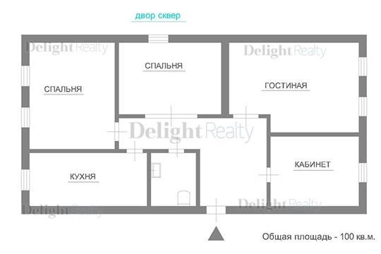 4-комн квартира, 100 м2, 2 этаж