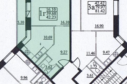 1-комн квартира, 41 м2, 17 этаж