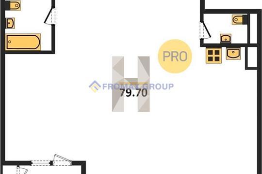 2-комн квартира, 79.7 м2, 11 этаж