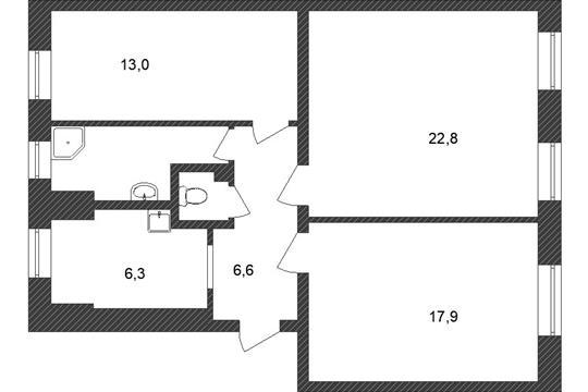 3-комн квартира, 73 м2, 3 этаж