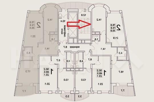 2-комн квартира, 82 м2, 10 этаж