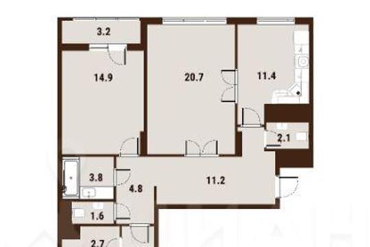 3-комн квартира, 95.7 м2, 6 этаж