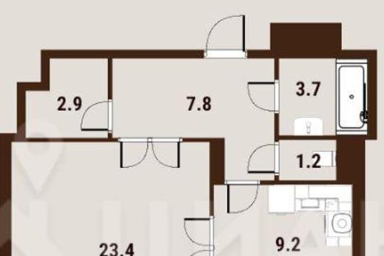 1-комн квартира, 49.5 м2, 10 этаж