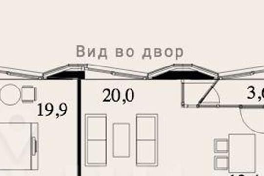 2-комн квартира, 82.6 м2, 3 этаж