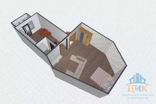1-комн квартира, 51.9 м2, 3 этаж