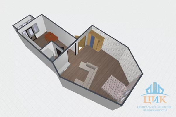 1-комн квартира, 51.9 м2, 3 этаж - фото 1