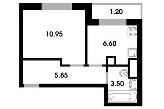 1-комн квартира, 28.1 м2, 1 этаж