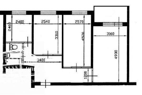 3-комн квартира, 57 м2, 2 этаж