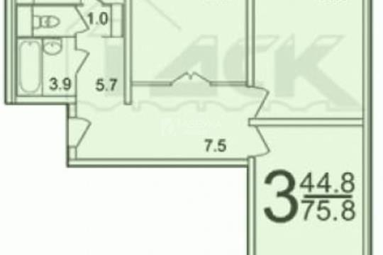 3-комн квартира, 80 м2, 9 этаж