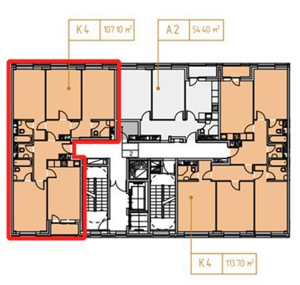 4-комн квартира, 108.5 м2, 14 этаж - фото 1
