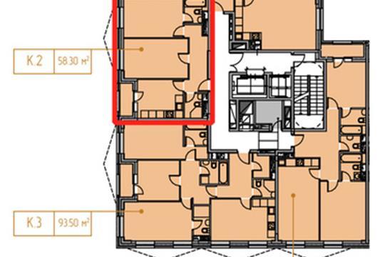 2-комн квартира, 58.95 м<sup>2</sup>, 15 этаж_1