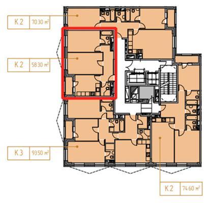 2-комн квартира, 58.95 м2, 15 этаж - фото 1