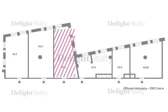 1-комн квартира, 45.6 м2, 3 этаж