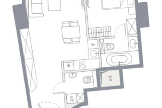 1-комн квартира, 53.9 м<sup>2</sup>, 75 этаж_1