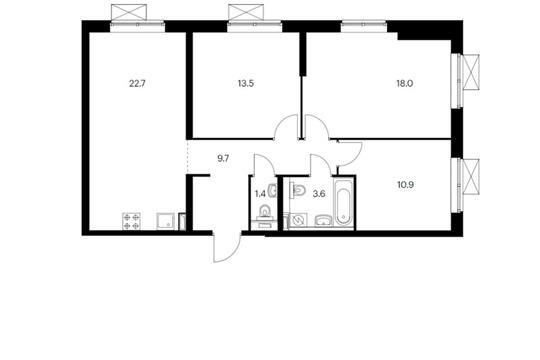 3-комн квартира, 79.8 м<sup>2</sup>, 3 этаж_1