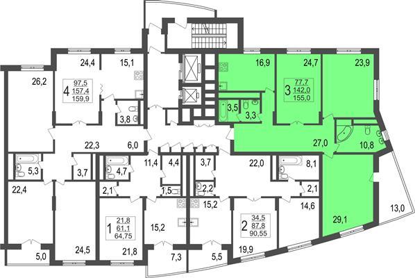 3-комн квартира, 155 м2, 8 этаж - фото 1