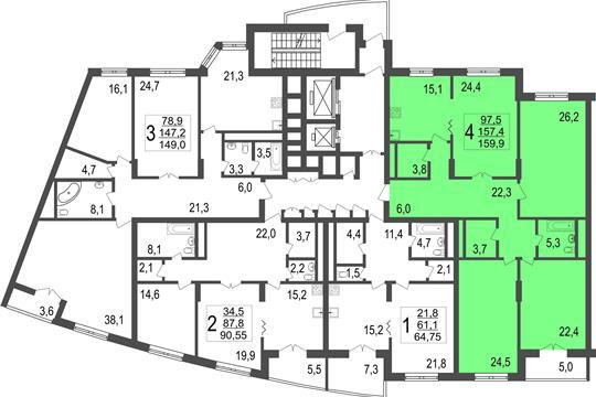 4-комн квартира, 159.9 м<sup>2</sup>, 6 этаж_1