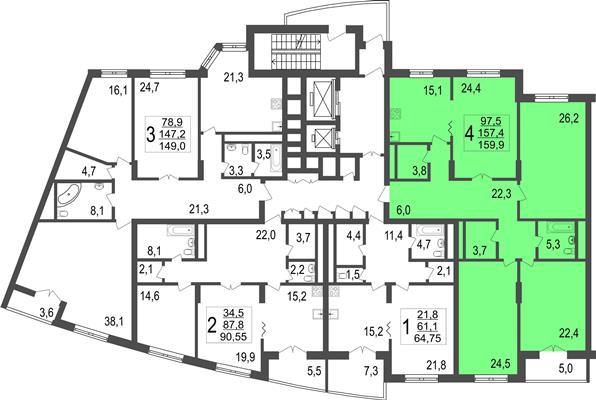 4-комн квартира, 159.9 м2, 6 этаж - фото 1