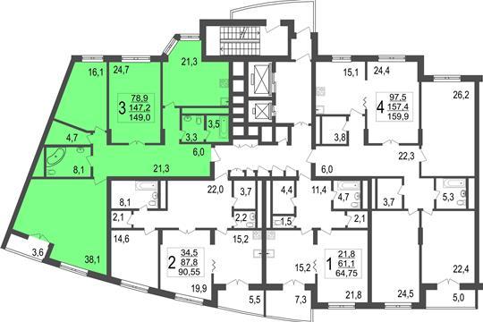 3-комн квартира, 149 м<sup>2</sup>, 7 этаж_1
