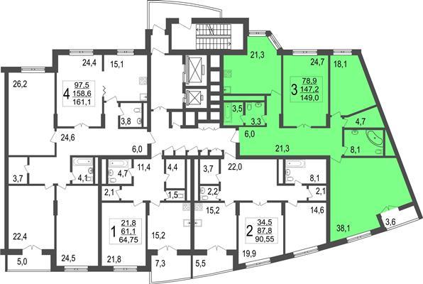 3-комн квартира, 149 м2, 8 этаж - фото 1