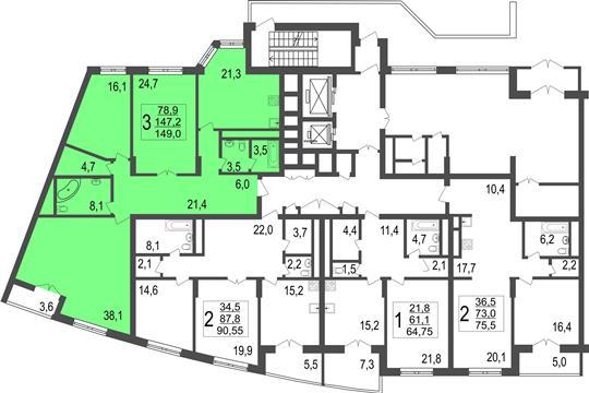 3-комн квартира, 149 м<sup>2</sup>, 1 этаж_1