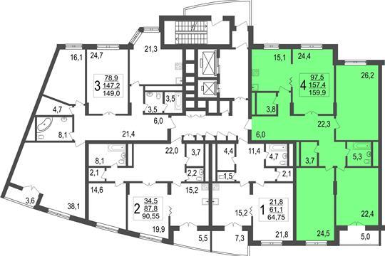 4-комн квартира, 159.9 м<sup>2</sup>, 2 этаж_1
