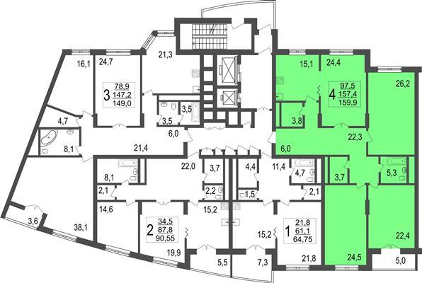 4-комн квартира, 159.9 м2, 4 этаж - фото 1